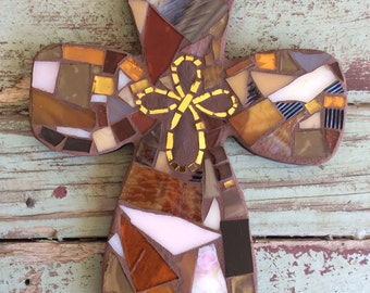 Brown Mosaic Cross with Golden Cross in Center