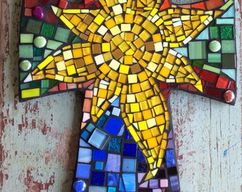 Large Mosaic Cross with Sun- multicolored