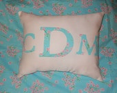 New MONOGRAM pillow made with Lilly Pulitzer Palm Beach Floral fabric
