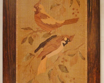MARQUETRY WOOD INLAY Plainting Plaque Handcrafted Two Cardinals signed 16 x 11 1/2