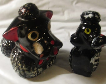Vintage Pair Of Ceramic Made in Japan Black And White Poodle Figurines