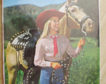 New in Wrapper Picture of Vintage Cowgirl and her Horse Picture