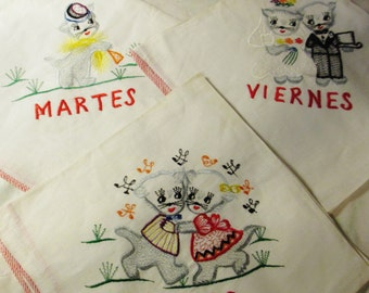 """Vtge Cat Kitty Spanish """"Tuesday"""", """"Thursday"""" and """"Friday"""" Embroidered Display Towels/Oversized Handkerchiefs"""