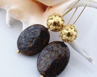 Bronzite earrings. Brown earrings. Gold plated earrings.