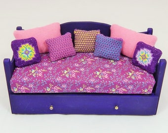 Dollhouse Miniature Handmade Purple Daybed with Hand-Knit and Stitched Pillows and Linens