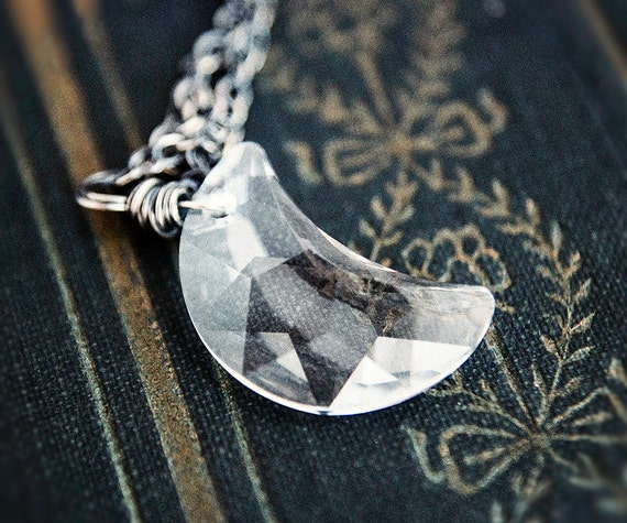 Crescent Moon, Crystal Moon, Moon Necklace, Swarovski Moon, Crystal Necklace, Crystal Jewelry, Celestial Jewelry, Sterling Silver