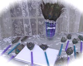 25 PEACOCK Feather Pen Favors in Teal and Purple