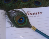 1 PEACOCK Feather Pen with BLING in Your Choice of Colors