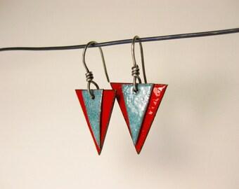 Red & Blue Enameled Triangle Earrings
