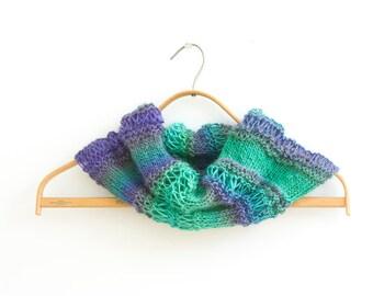 Hand Knit Circle Scarf, Custom Colors,  Neck Warmer, Women,  Cowl Scarf, Vegan  Infinity Scarf