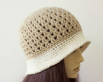 Cotton Hat, Spring Sun Hat,  Beige Bucket Hat, Vegan  Hat, Cream Brim Hat