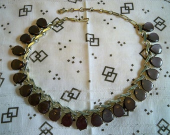 Vintage Coro Chocolate Brown Teardrop Thermoset Necklace 1950s Wavy Goldtone Setting and Extender