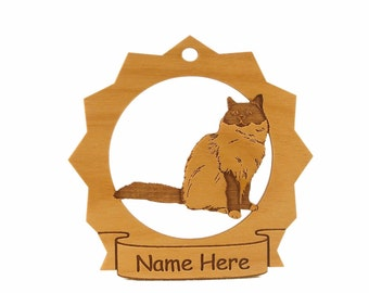 Birman sitting Cat Wood Ornament 087090 Personalized With Your Cat's Name