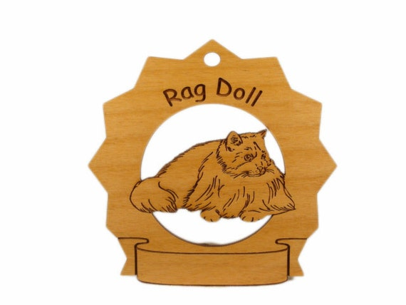 7326 Rag Doll Cat Personalized Wood Ornament
