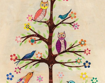 Children Decor, Birds and Owls Collage Painting, Mixed Media Art Print on Wood