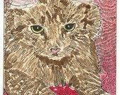 ACEO Big Kitty Portrait Signed Limited Edition Print by Theodora