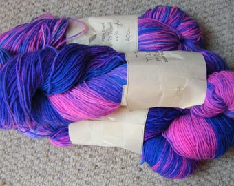 Sock Yarn  4ply 400yds Tulips and Bluebells hand dyed  wool/ nylon