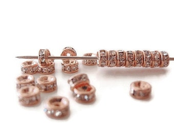 12 (4mm) Crystal Rhinestone Rondelle Spacer Beads, Rose Gold Metal Color , Jewelry making Bead Supply, Brass, Grade AAA, Lead & Nickel Free