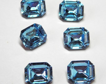 Sale! - Vintage Swarovski Aquamarine Crystal Stone 12x10mm Style 4610 (qty 6)