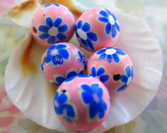 Sale hot pink blue white Floral Organic Polymer Clay Beads Round  beads 10mm-Fancy handmade Floral beads- white oink blue colors