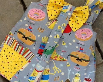 Retro Snappy Snacks Toddler or Girl top or Sundress etsykids team