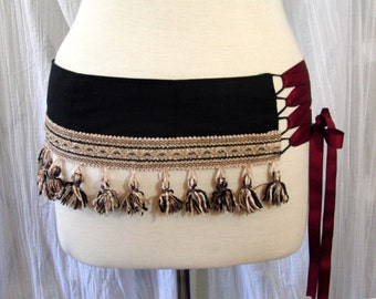 Black Bellydance Belt Corset Style Lace Up With Tassels Any Size