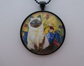 Siamese Cat Pendant,  Cat Art Necklace, Handcrafted Jewelry, Glass Cabochon, Matching Chain Included #371