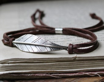 Strength or your word ~ sterling silver woodland leaf & leather or suede bracelet ~ Made to order