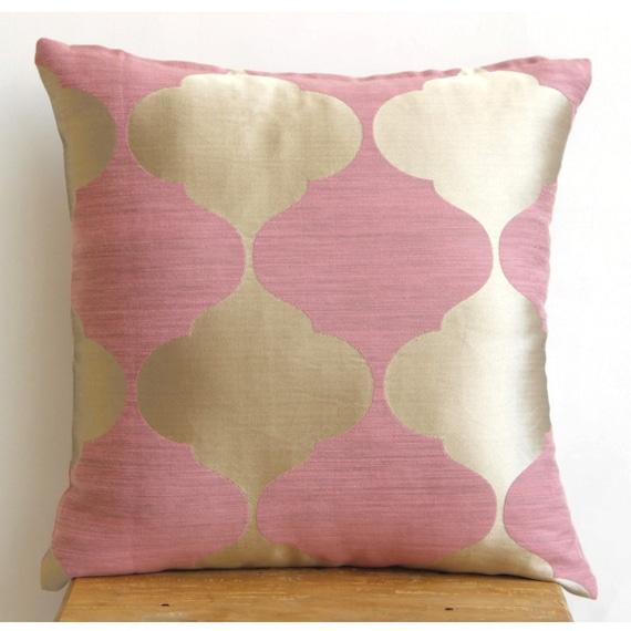 Designer Pink Accent Pillows 16x16 Jacquard Throw