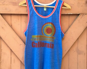 California Dream Tank - Organic Cotton Blend in Heathered Royal & Red