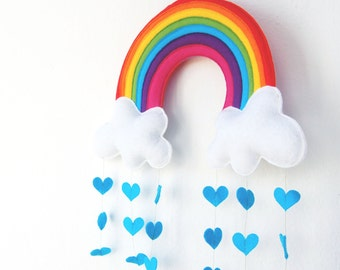 Rainbow & Clouds Raining Love Hearts Mobile - A Funky Felt Wall Decoration from Clara Luna. Baby Shower. New Baby. Nursery Decor.