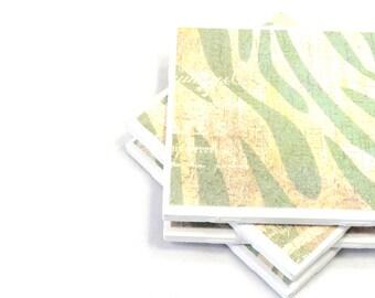 Tile Coasters -  Mint Green and Cream Zebra Print - Set of 4 Ceramic Tile Coasters