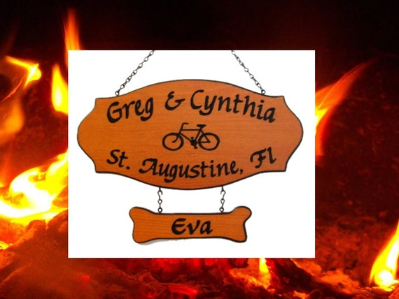 Bicycle Graphics Family Name Location Sign - Custom Carved Redwood Sign - Father's Day Gift