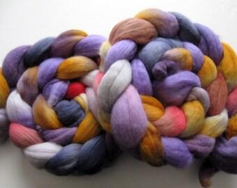 Purple petals -  Merino Roving (Top) - Handpainted Spinning or Felting Wool - 4 ounces