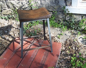 FREE SHIPPING - Industrial Chic Reclaimed Wood Saddle Stools