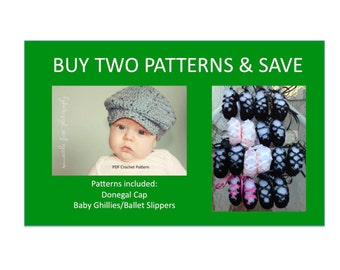 2 Instant Downloads - Donegal Cap - Baby Ghillies - PDF Crochet Patterns and Save