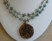 Hand Knotted Necklace, Aventurine Necklace, Carved Pendant, Dragon Pendant, Choker Necklace, A Gift for Her