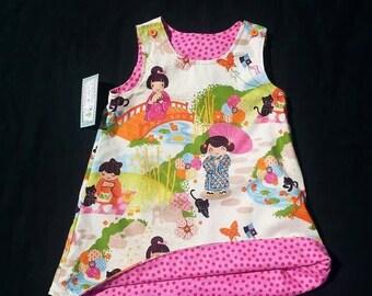 Geisha Girls Dress - Girls Spring Dress - Easter Dress - Girls Birthday Dress - Asian Dress - Reversible Shift Dress - Groovy Gurlz