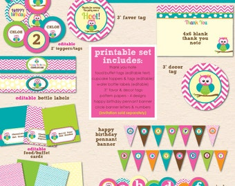 Bright Chevron Owl Birthday Party - DIY/Printable Complete Party Pack - INSTANT DOWNLOAD!