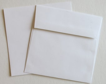 "PE75 Qty.50 Square Flap 5 1/2"" x 5 1/2"" (13.97cm x 13.97cm) 60lb White Paper Envelopes"