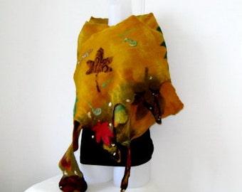 Felted Scarf Wrap Shawl Felt Leaves Mustard