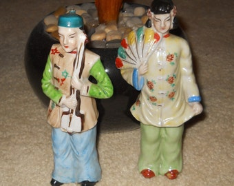 Chinese figurines two vintage famille  - Chinese Figurines - Hand Painted Porcelain Asian 1950's