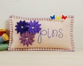 "Purple Daisy Pincushion • Hand Embroidered ""pins"" • Wool Felt • Pin Pillow"