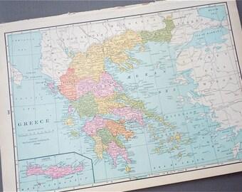 1930s retro map of GREECE Aegean sea paper ephemera . wall decor . vintage book page . antique map