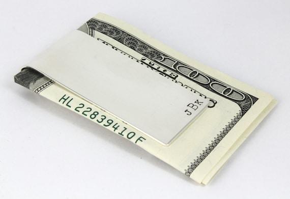 Valentine's Day Gift - Personalized Sterling Silver Money Clip - Men's Custom Hand Stamped Money Holder - Groomsmen Gift - Best Man Gift