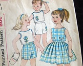 1960 Vintage Sewing Pattern Simplicity 4264 Vintage 60s Toddlers Sweet Full Skirt,Top and Shorts  / Size 3