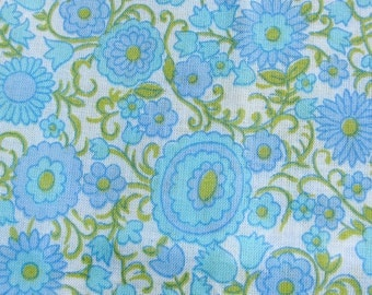 Vintage Floral Cotton Fabric in Light Blue Lavender and Green