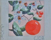 VINTAGE--Orange with Blossoms on Hand Painted Needlepoint Canvas