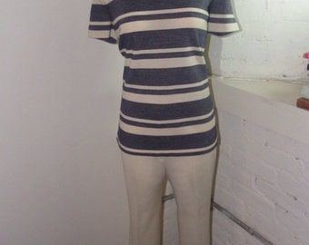 2pc Navy and Cream Striped Top & Pant Set