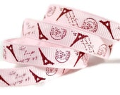"Paris Grosgrain 3/8"" Pink Ribbon, Eiffel Tower Ribbon, French Ribbon, Paris Ribbon, French Postage, Postmark Ribbon, Wedding Ribbon"
